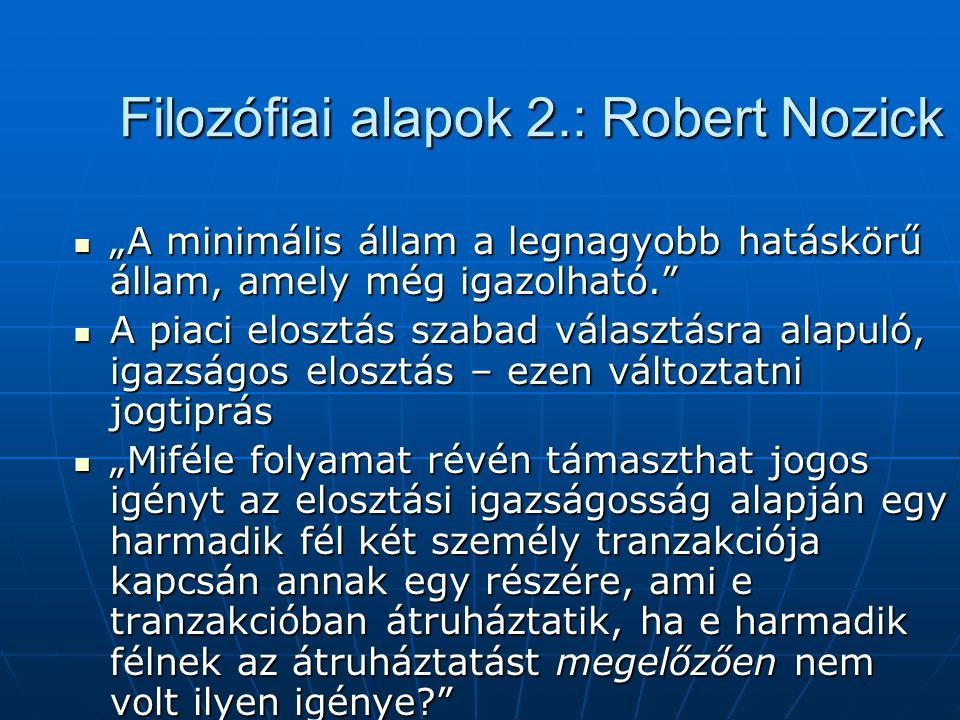 Filozófiai alapok 2.: Robert Nozick