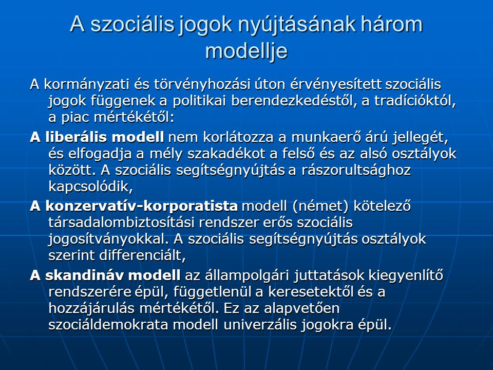 A szociális jogok nyújtásának három modellje
