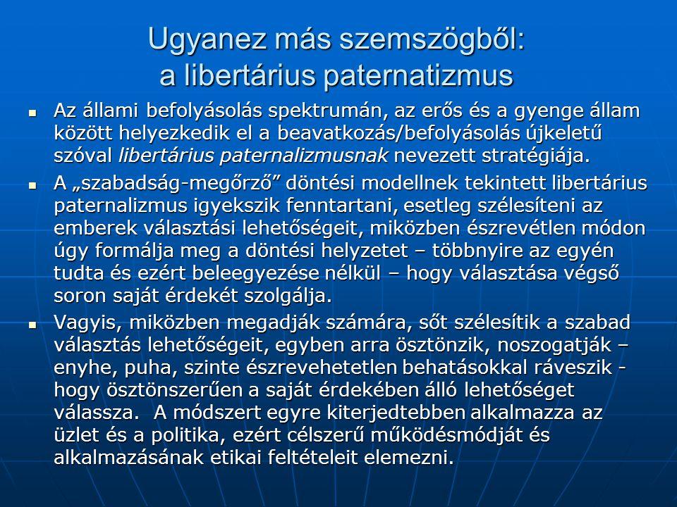 Ugyanez más szemszögből: a libertárius paternatizmus
