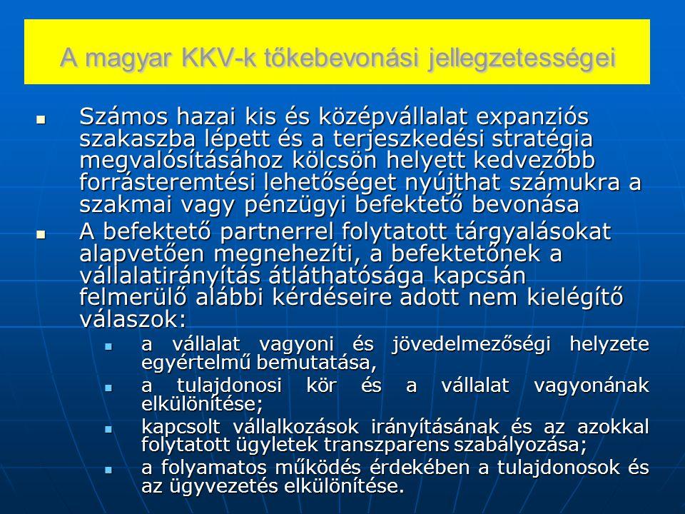 A magyar KKV-k tőkebevonási jellegzetességei