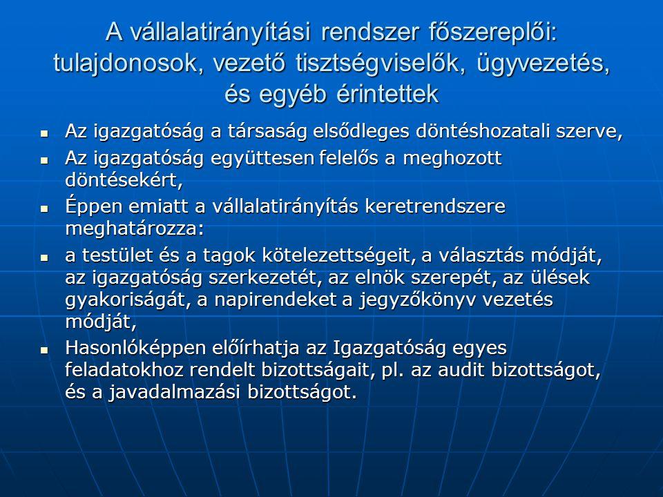 A vállalatirányítási rendszer főszereplői: tulajdonosok, vezető tisztségviselők, ügyvezetés, és egyéb érintettek