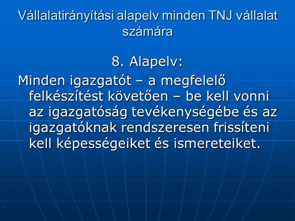 Vállalatirányítási alapelv minden TNJ vállalat számára