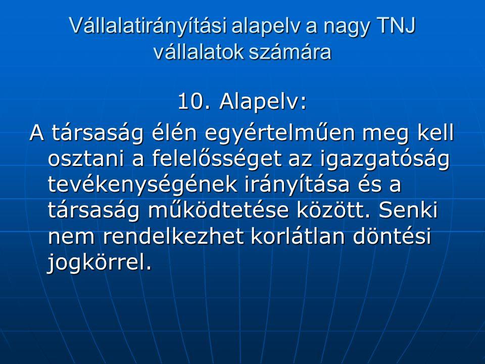 Vállalatirányítási alapelv a nagy TNJ vállalatok számára