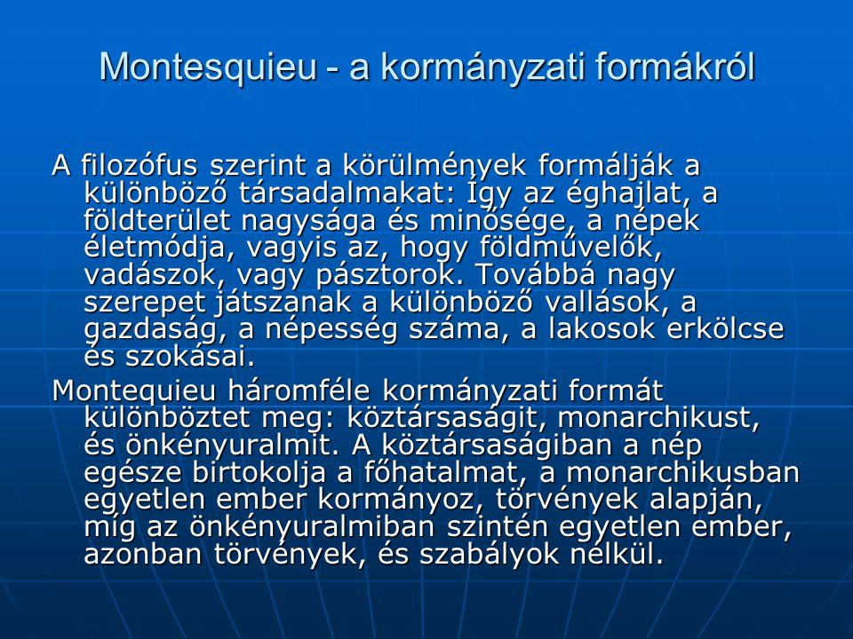 Montesquieu - a kormányzati formákról
