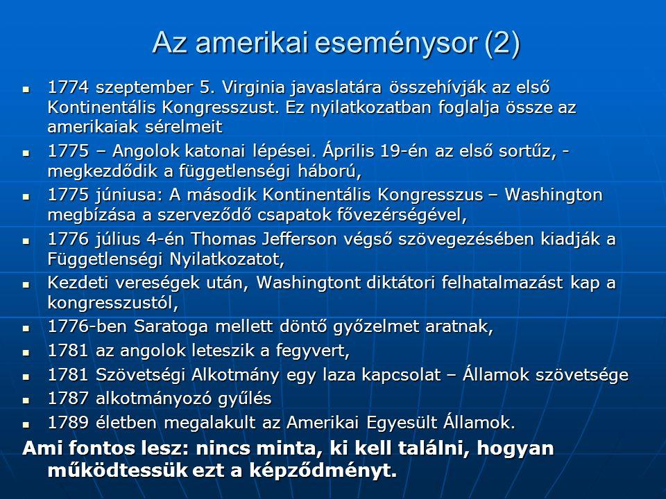 Az amerikai eseménysor (2)