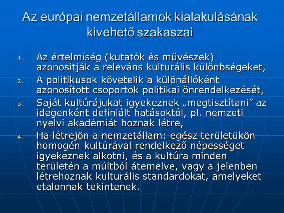 Az európai nemzetállamok kialakulásának kivehető szakaszai