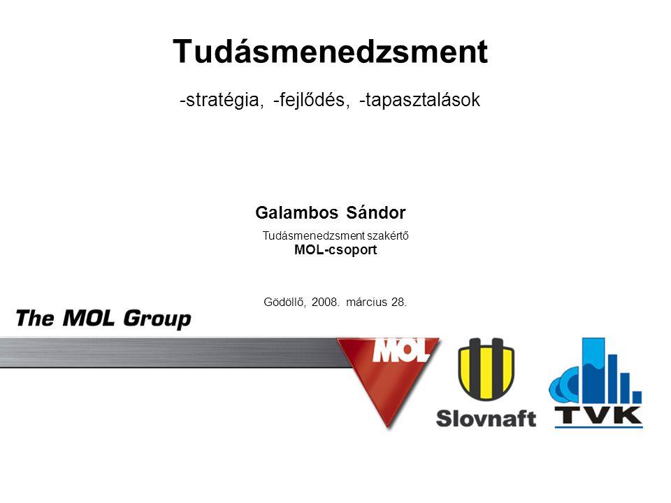 Tudásmenedzsment -stratégia, -fejlődés, -tapasztalások Galambos Sándor
