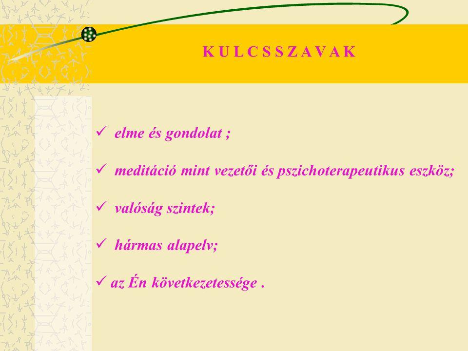 K U L C S S Z A V A K elme és gondolat ; meditáció mint vezetői és pszichoterapeutikus eszköz; valóság szintek;