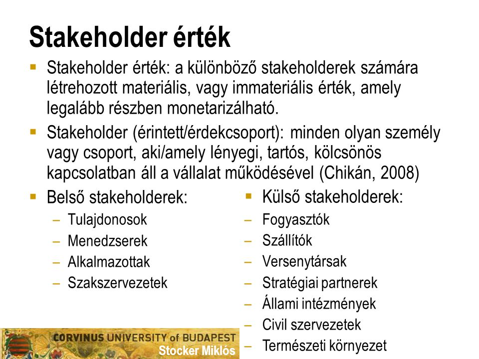 Stakeholder érték