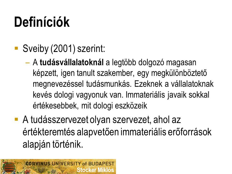 Definíciók Sveiby (2001) szerint: