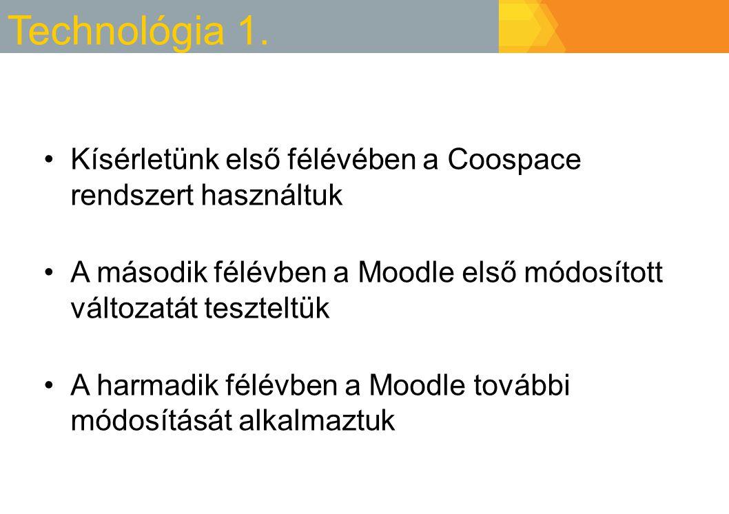 Technológia 1. Kísérletünk első félévében a Coospace rendszert használtuk. A második félévben a Moodle első módosított változatát teszteltük.