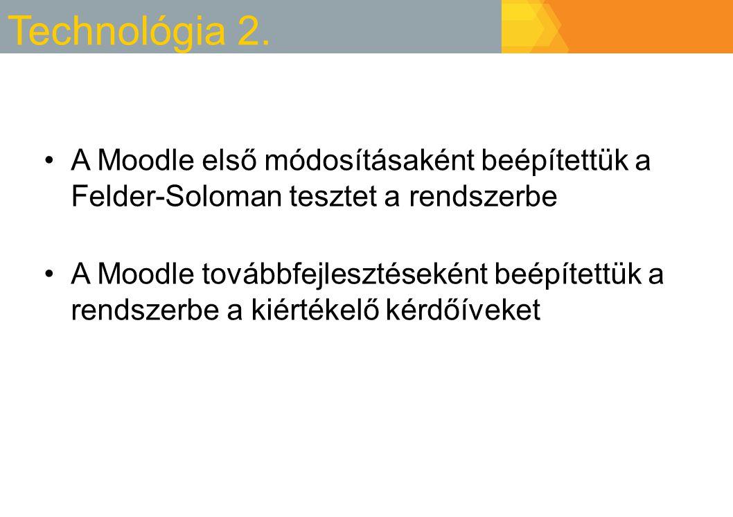 Technológia 2. A Moodle első módosításaként beépítettük a Felder-Soloman tesztet a rendszerbe.