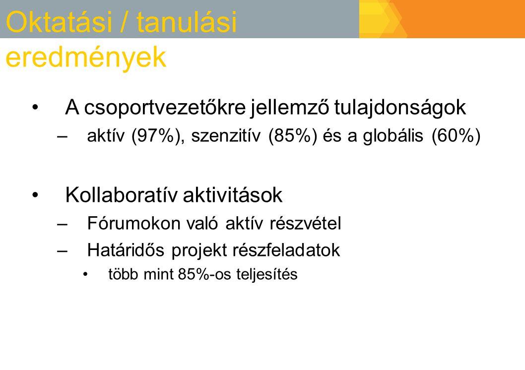 Oktatási / tanulási eredmények