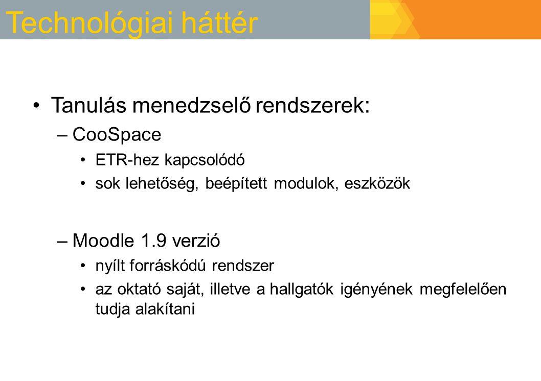 Technológiai háttér Tanulás menedzselő rendszerek: CooSpace