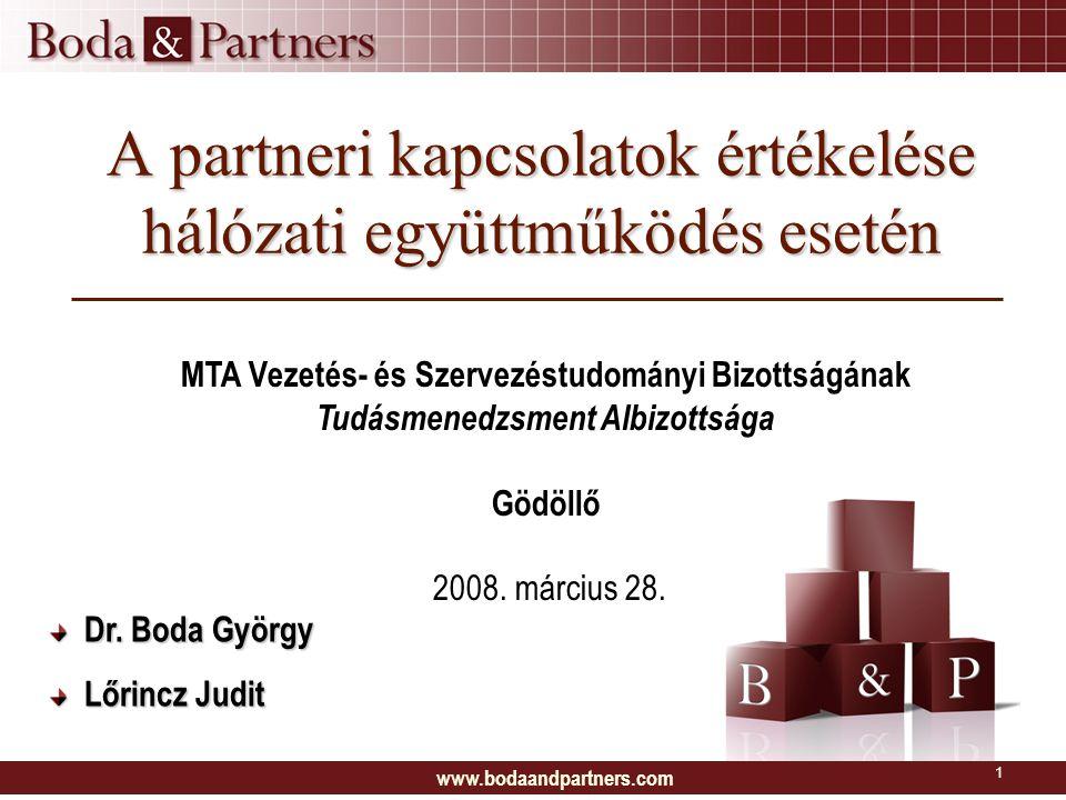A partneri kapcsolatok értékelése hálózati együttműködés esetén