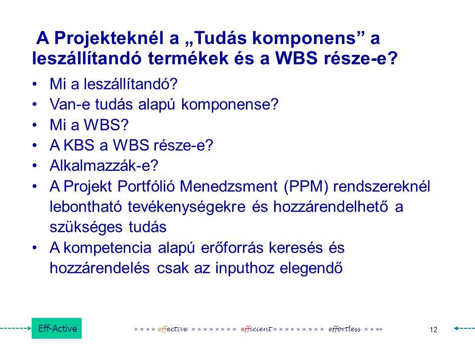 """A Projekteknél a """"Tudás komponens a leszállítandó termékek és a WBS része-e"""