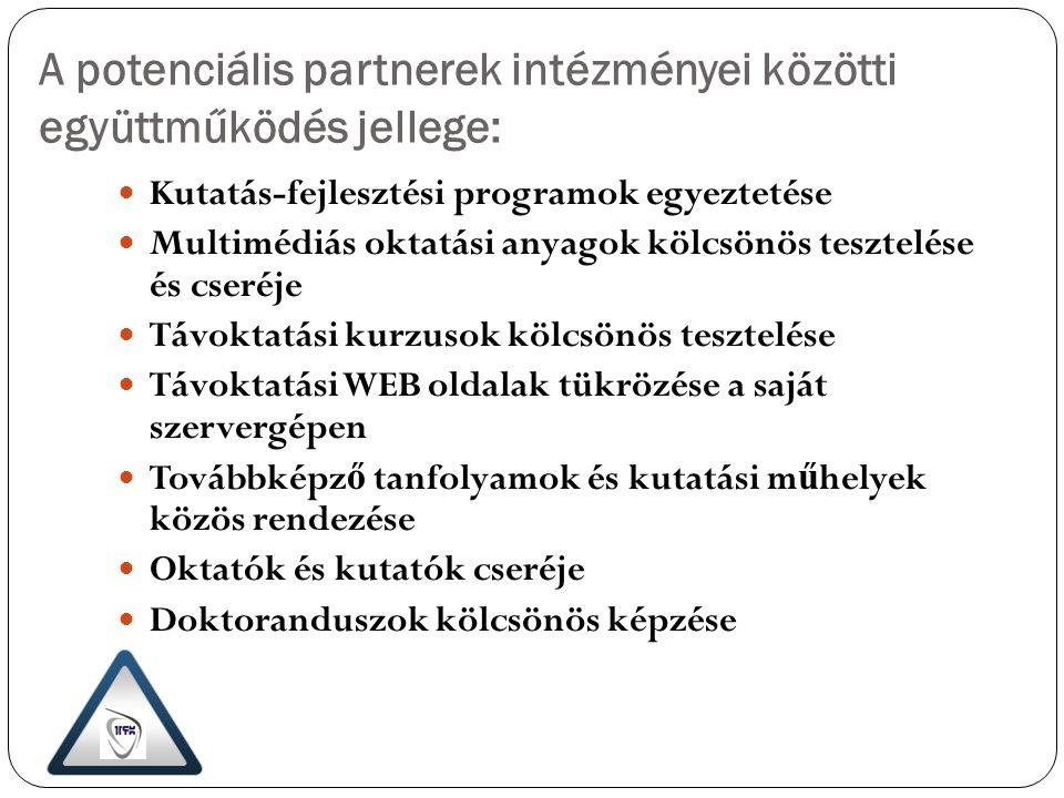 A potenciális partnerek intézményei közötti együttműködés jellege: