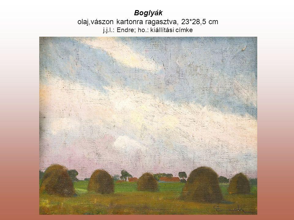Boglyák olaj,vászon kartonra ragasztva, 23*28,5 cm