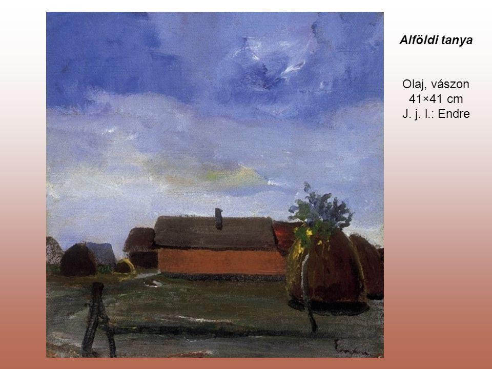 Alföldi tanya Olaj, vászon 41×41 cm J. j. l.: Endre