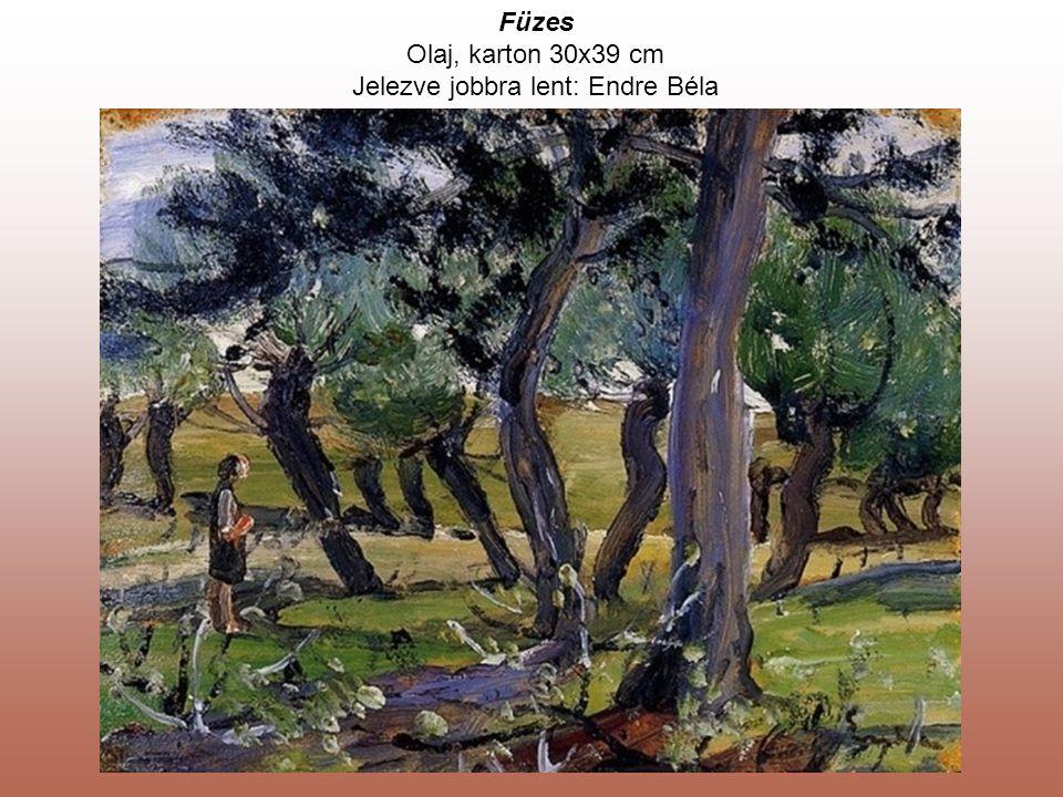 Olaj, karton 30x39 cm Jelezve jobbra lent: Endre Béla