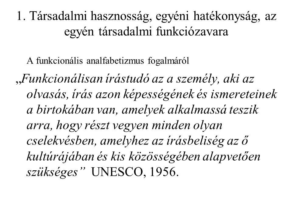 1. Társadalmi hasznosság, egyéni hatékonyság, az egyén társadalmi funkciózavara