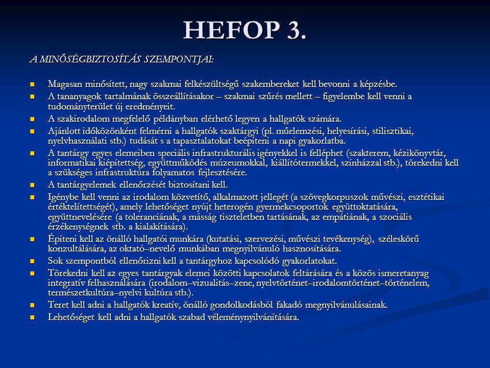 HEFOP 3. A MINŐSÉGBIZTOSÍTÁS SZEMPONTJAI: