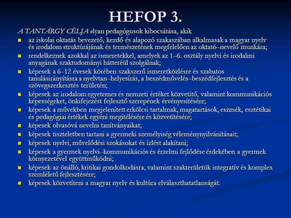 HEFOP 3. A TANTÁRGY CÉLJA olyan pedagógusok kibocsátása, akik