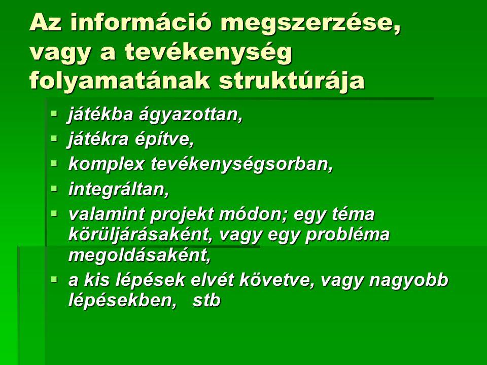 Az információ megszerzése, vagy a tevékenység folyamatának struktúrája