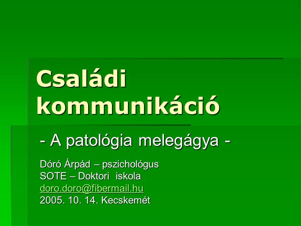 Családi kommunikáció - A patológia melegágya -