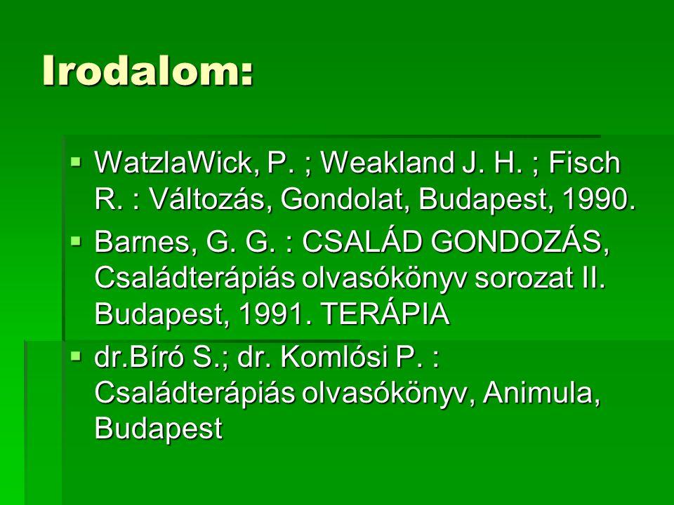 Irodalom: WatzlaWick, P. ; Weakland J. H. ; Fisch R. : Változás, Gondolat, Budapest, 1990.