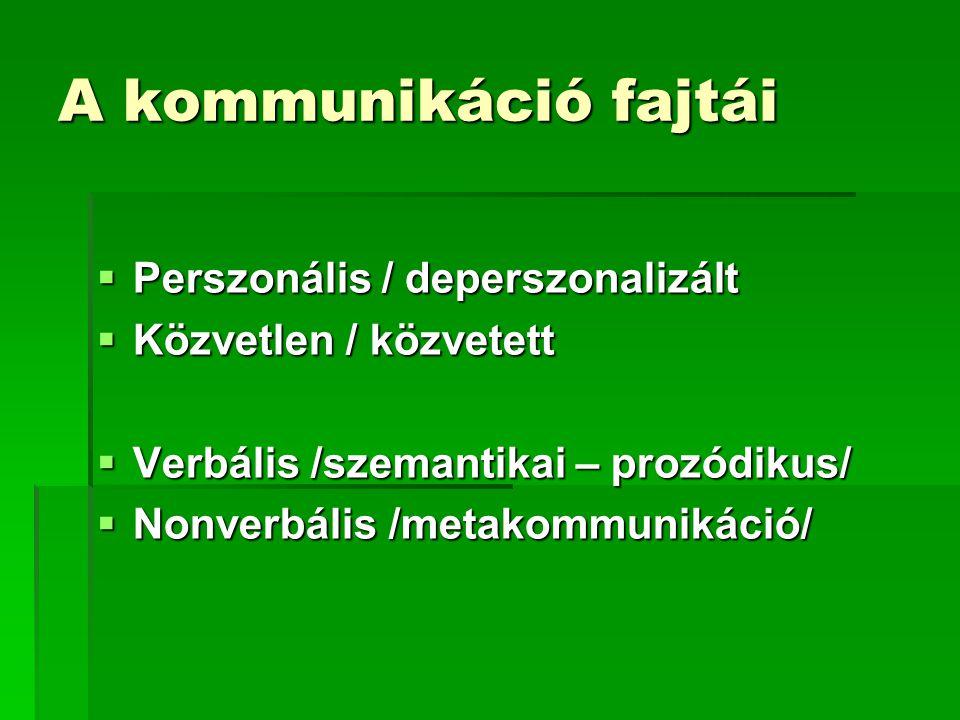 A kommunikáció fajtái Perszonális / deperszonalizált