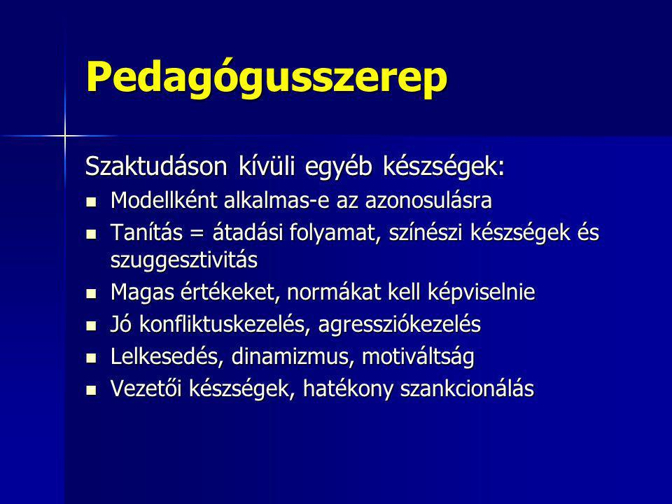 Pedagógusszerep Szaktudáson kívüli egyéb készségek: