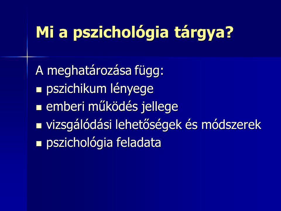 Mi a pszichológia tárgya