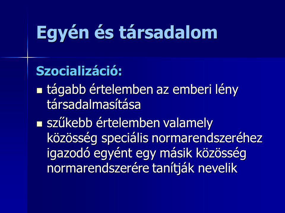 Egyén és társadalom Szocializáció:
