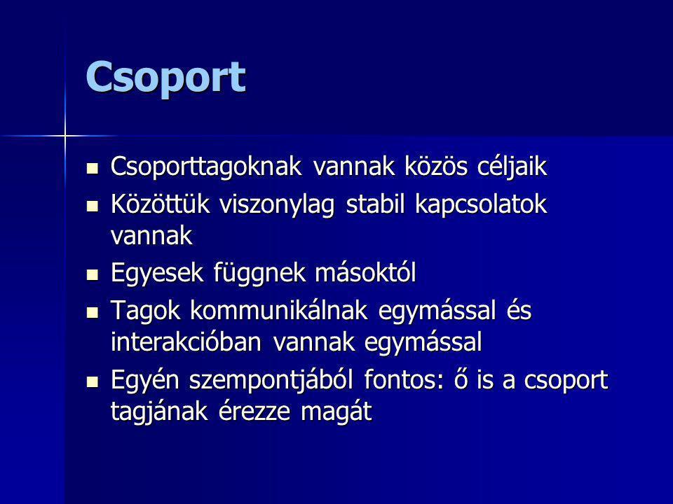 Csoport Csoporttagoknak vannak közös céljaik