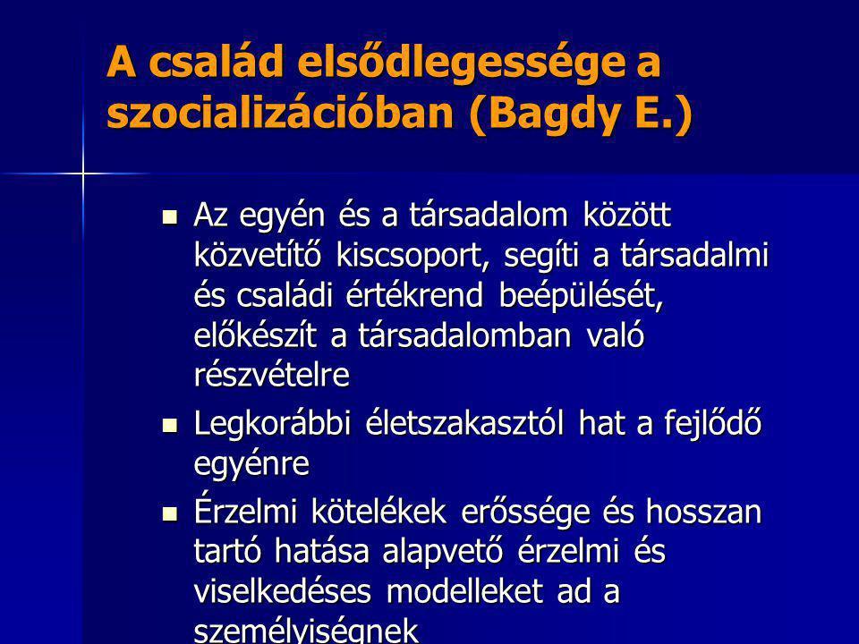 A család elsődlegessége a szocializációban (Bagdy E.)