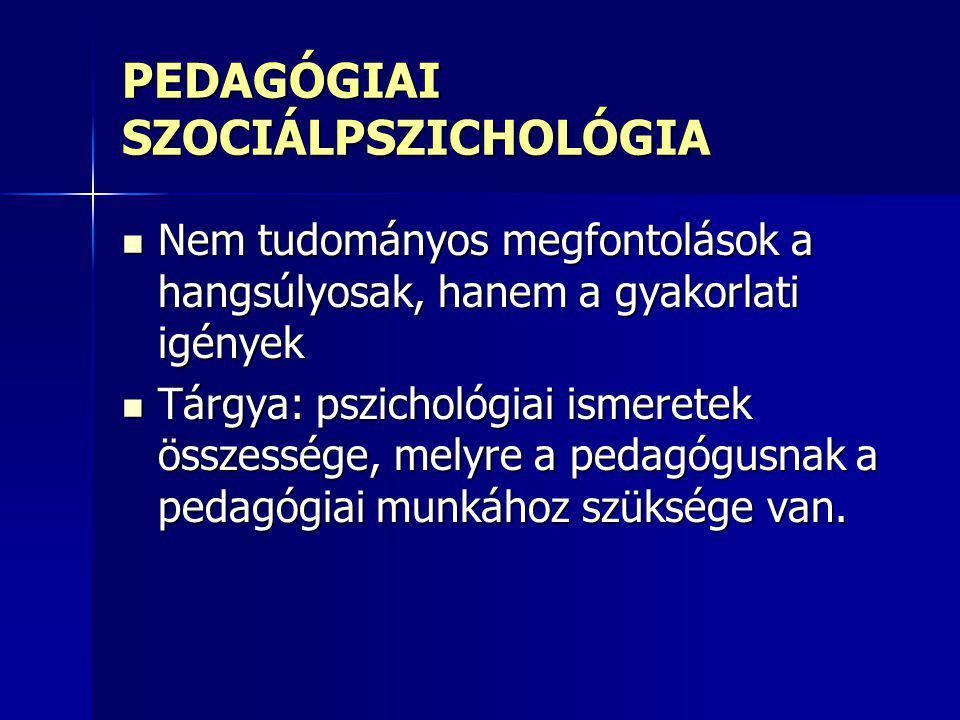 PEDAGÓGIAI SZOCIÁLPSZICHOLÓGIA
