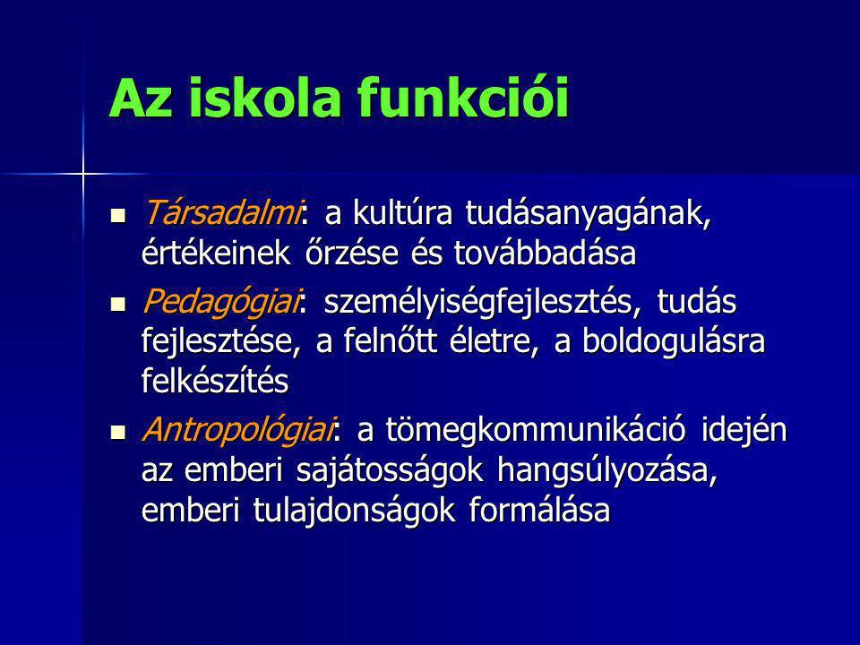 Az iskola funkciói Társadalmi: a kultúra tudásanyagának, értékeinek őrzése és továbbadása.