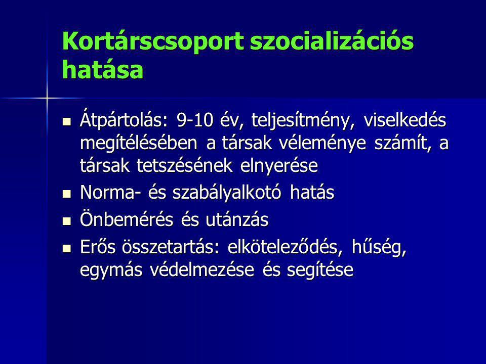 Kortárscsoport szocializációs hatása