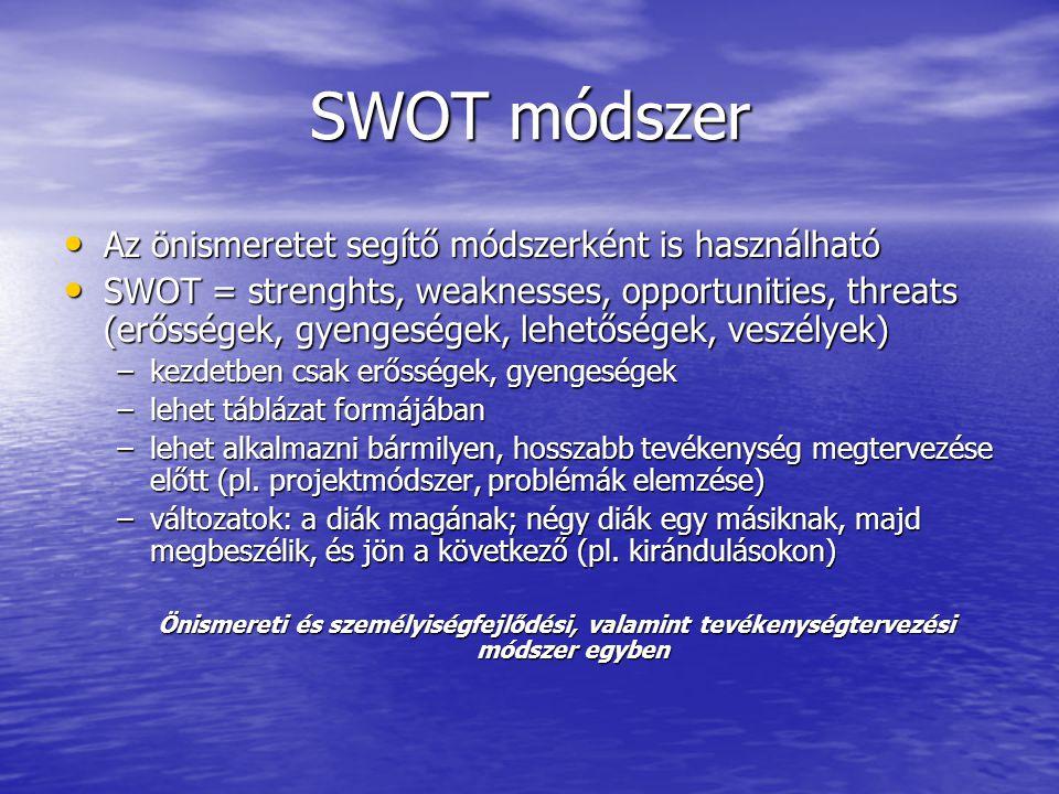 SWOT módszer Az önismeretet segítő módszerként is használható