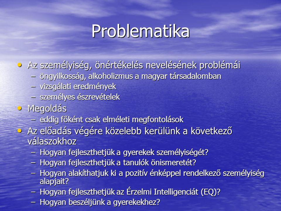 Problematika Az személyiség, önértékelés nevelésének problémái