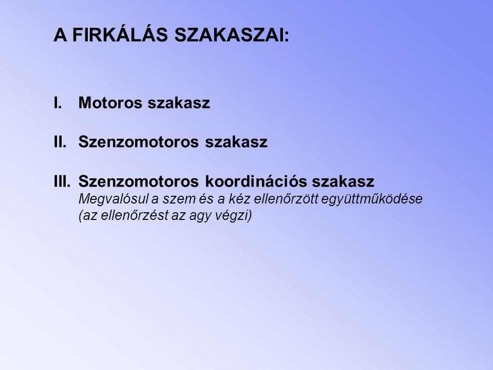 A FIRKÁLÁS SZAKASZAI: Motoros szakasz Szenzomotoros szakasz