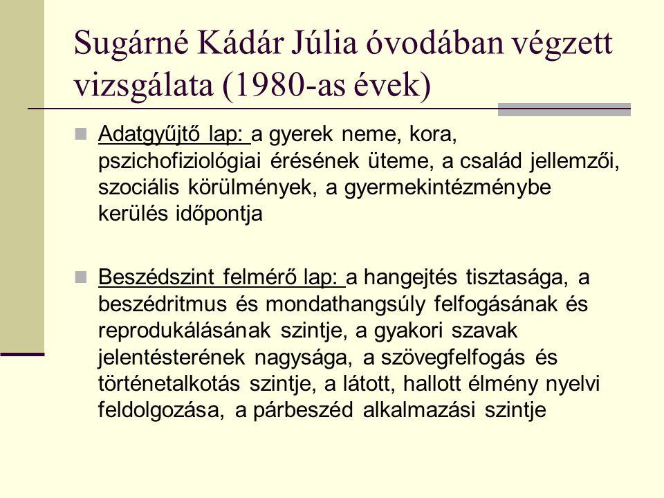 Sugárné Kádár Júlia óvodában végzett vizsgálata (1980-as évek)