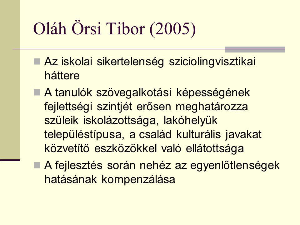 Oláh Örsi Tibor (2005) Az iskolai sikertelenség sziciolingvisztikai háttere.