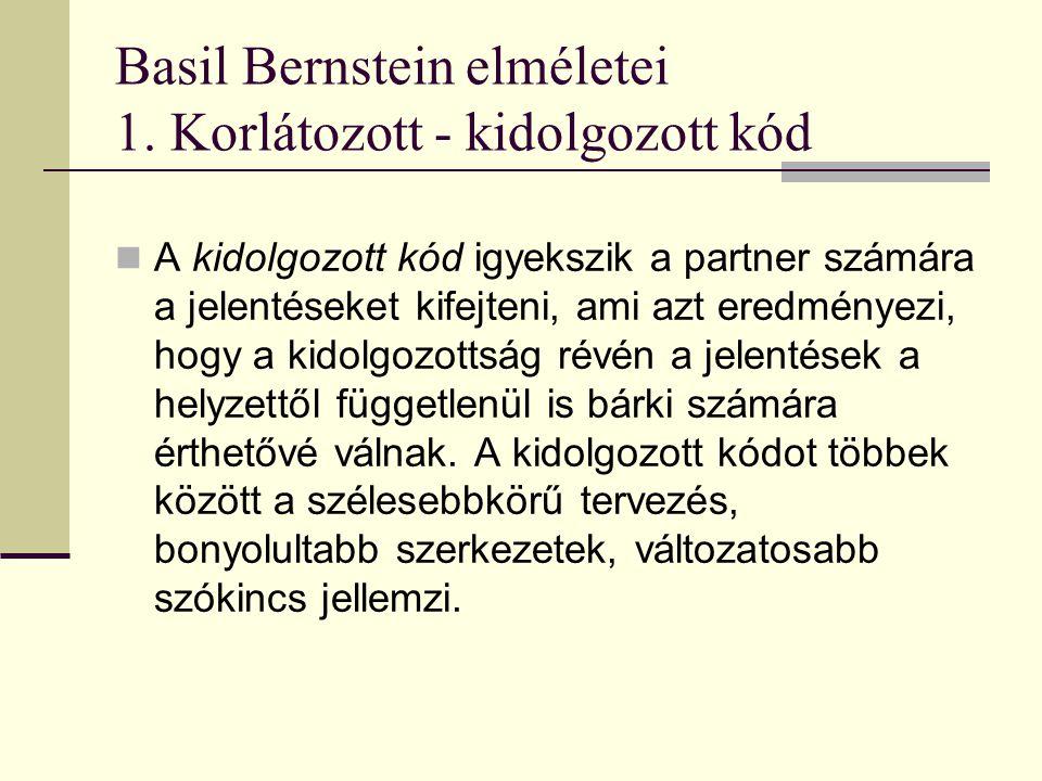 Basil Bernstein elméletei 1. Korlátozott - kidolgozott kód