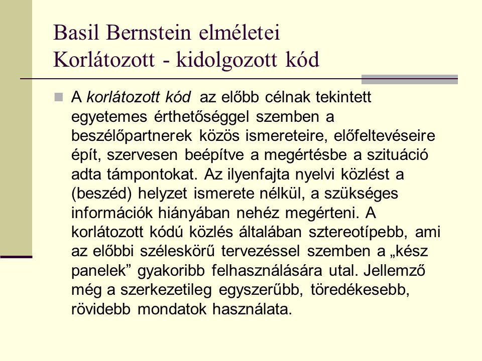 Basil Bernstein elméletei Korlátozott - kidolgozott kód