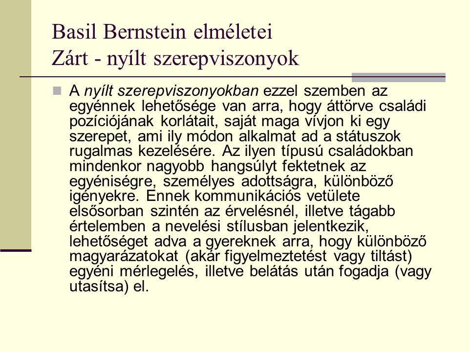 Basil Bernstein elméletei Zárt - nyílt szerepviszonyok