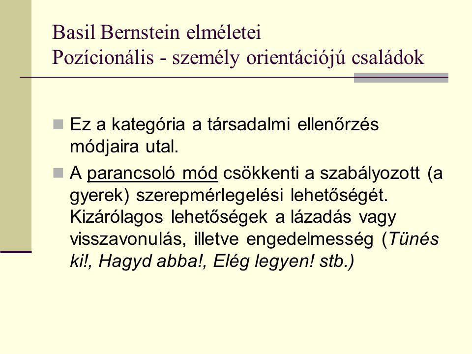 Basil Bernstein elméletei Pozícionális - személy orientációjú családok