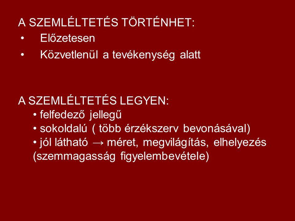 A SZEMLÉLTETÉS TÖRTÉNHET: