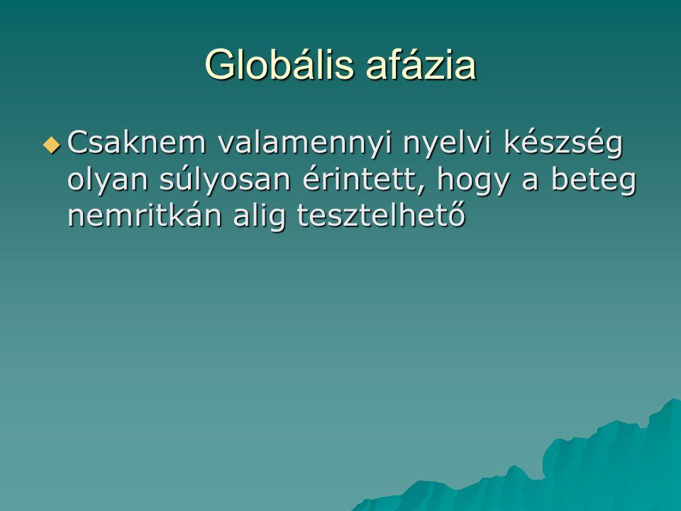 Globális afázia Csaknem valamennyi nyelvi készség olyan súlyosan érintett, hogy a beteg nemritkán alig tesztelhető.